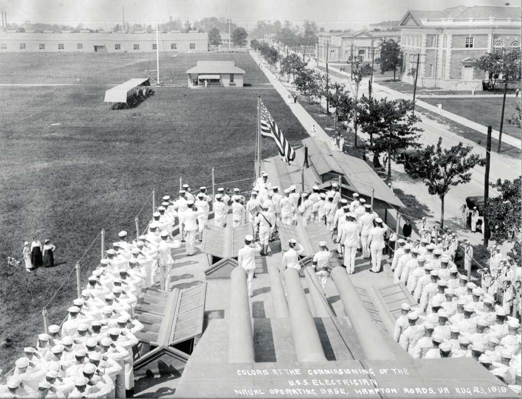 1919 Colors At The Commissioning Of The Uss Electrician August 23 1919 Naval Operating Base Hampton Roads Virginia